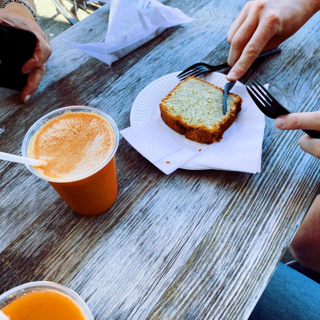 Carrot juice and lemon cake.